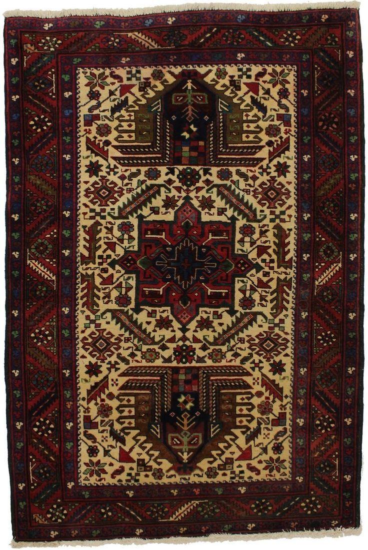 Vintage Geometric 4x6 Karajeh Persian Rug Wool Area Rugs Persian Rug Vintage Persian Rug