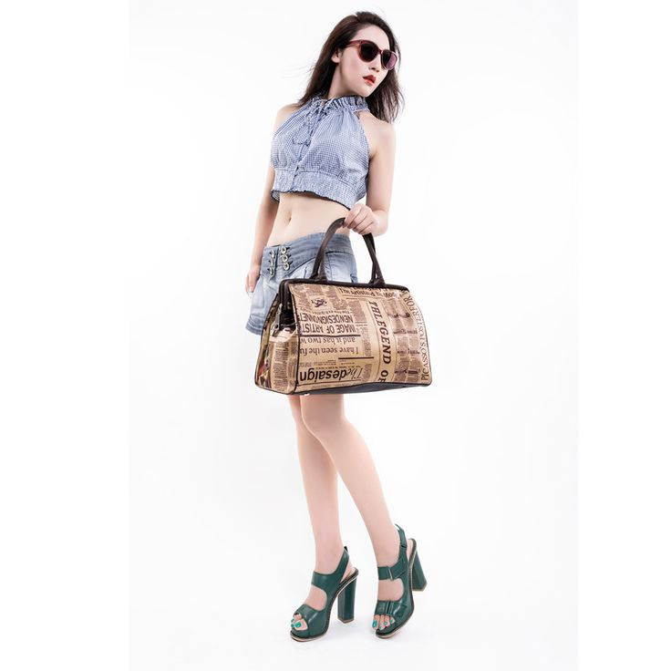 Newspaper Printed Travel Handbag /Matching Weekender in our luggage section