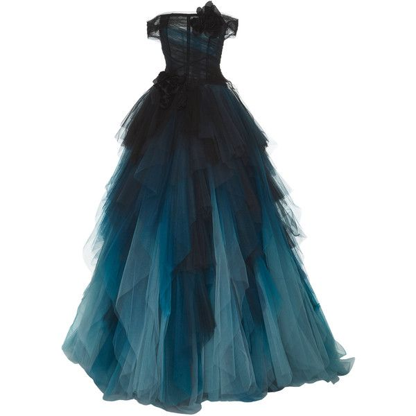 Off the Shoulder Ball Gown | Moda Operandi ($12,995) ❤ liked on Polyvore featuring dresses, gowns, off shoulder evening dress, off shoulder evening gown, off-shoulder dresses, fitted tops and blue off the shoulder dress
