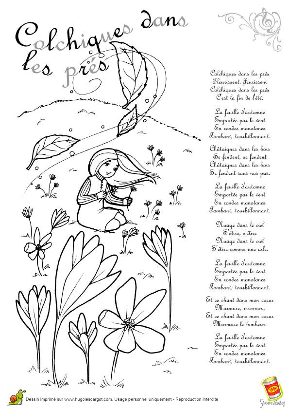 Comptine Colchiques Dans Les Pres, page 6 sur 13 sur HugoLescargot.com