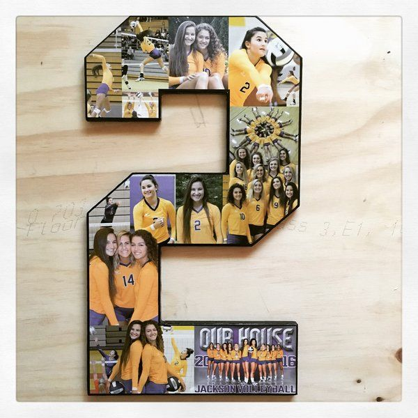 Number Collage, Block font, 18 inches. Volleyball senior night. Perfect sports keepsake for your favorite athletes. Moms, get the tissues! Senior Night, senior day, senior recognition, graduation, thought gifts for boyfriend from the best girlfriend ever. See more at The Collage And Wood Shop, www.collageandwood.com