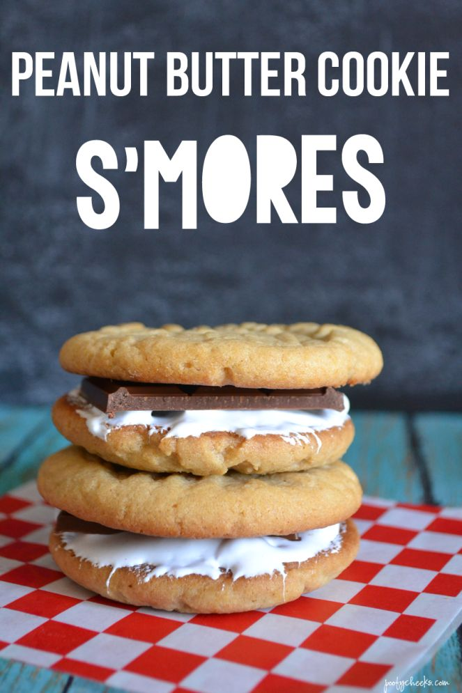 Peanut Butter Cookie Smore by Poofy Cheeks for Tatertots and JelloRecipese Cookies, Desserts, Peanuts, Cookies Smores, Yummy Food, Cookies S More, Cookies Recipe, Peanut Butter Cookies, Baking