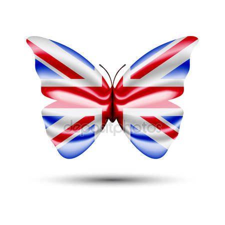Union jack flag butterfly — Stock Vector