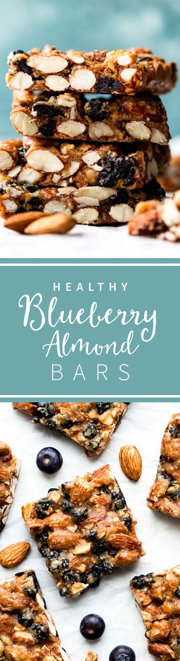 Healthy blueberry copycat KIND bars! Gluten free and easy to make! Blueberry almond snack bars on sallysbakingaddiction.com
