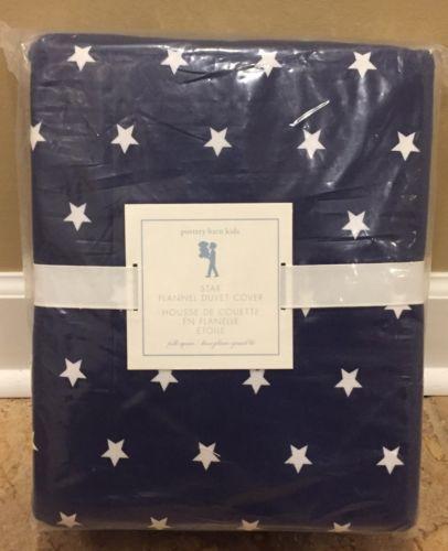 Duvet Covers 134641: New Pottery Barn Kids Star Flannel Full Queen Duvet Navy Blue -> BUY IT NOW ONLY: $89.99 on eBay!