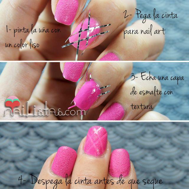 Easy Nail Art step by step | Diseños de uñas fáciles para esmaltes con textura paso a paso