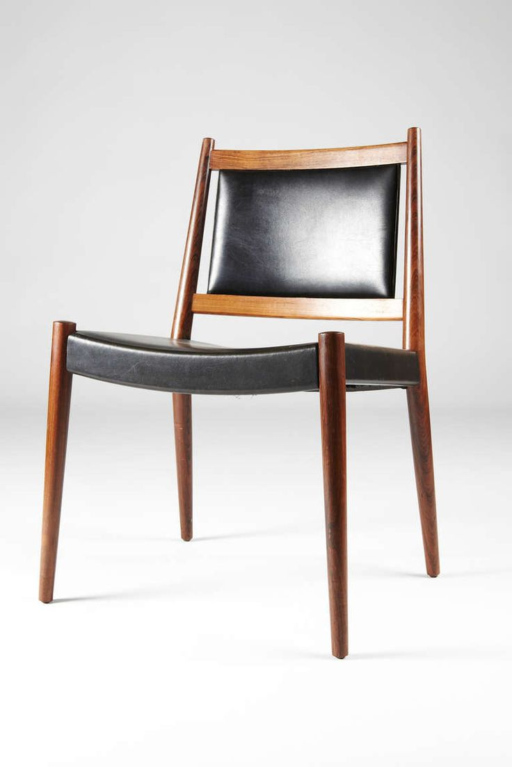 Steffan Larsen Rosewood And Black Leather Dining Chairs