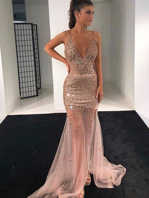 Sparkly Mermaid V Neck Spaghetti Straps Open Back Blush Tulle Long Prom Dresses with Beading,Formal party Dresses ML1810 in 2019 | Prom dresses, Dresses, Straps prom dresses