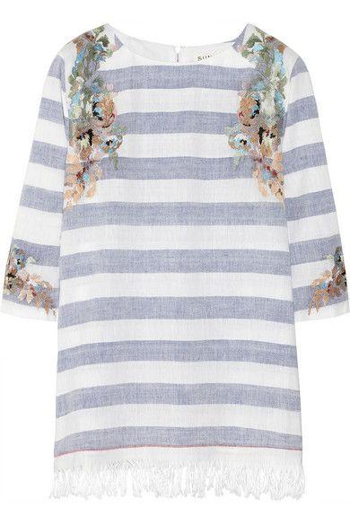 love // stripes + embroidery + fringe blouse
