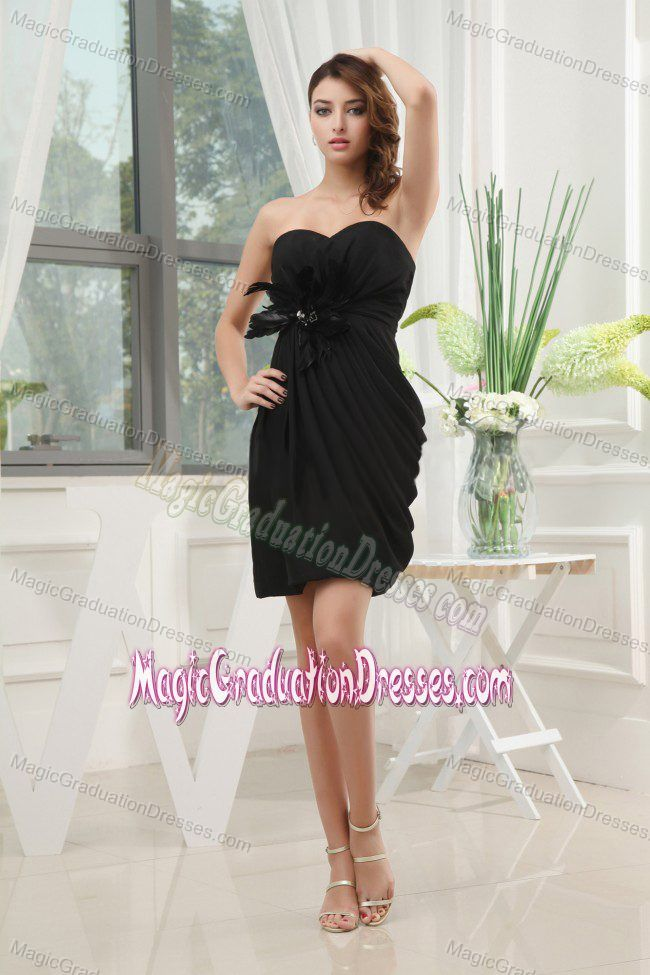 Black Sweetheart Mini-length Graduation Dresses for Middle School with Ruching