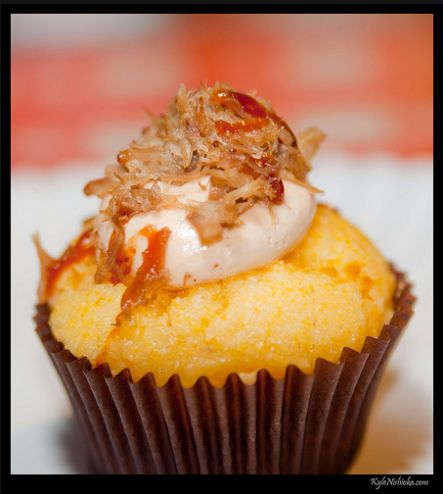 Pulled Pork and Barbecue Sauce Cornbread Cupcake