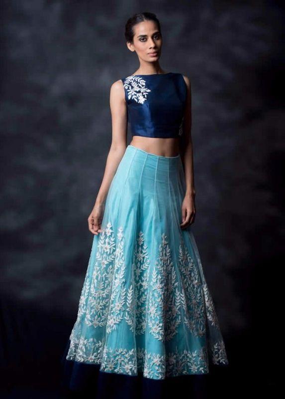 Shop Fabdiwa Fashion Designer Sky Blue Lehenga by Edeal Online online. Largest…