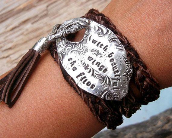 Boho Silver Jewelry, Hippie Leather Wrap Bracelets by HappyGoLicky. With Beautiful Wings She Flies...