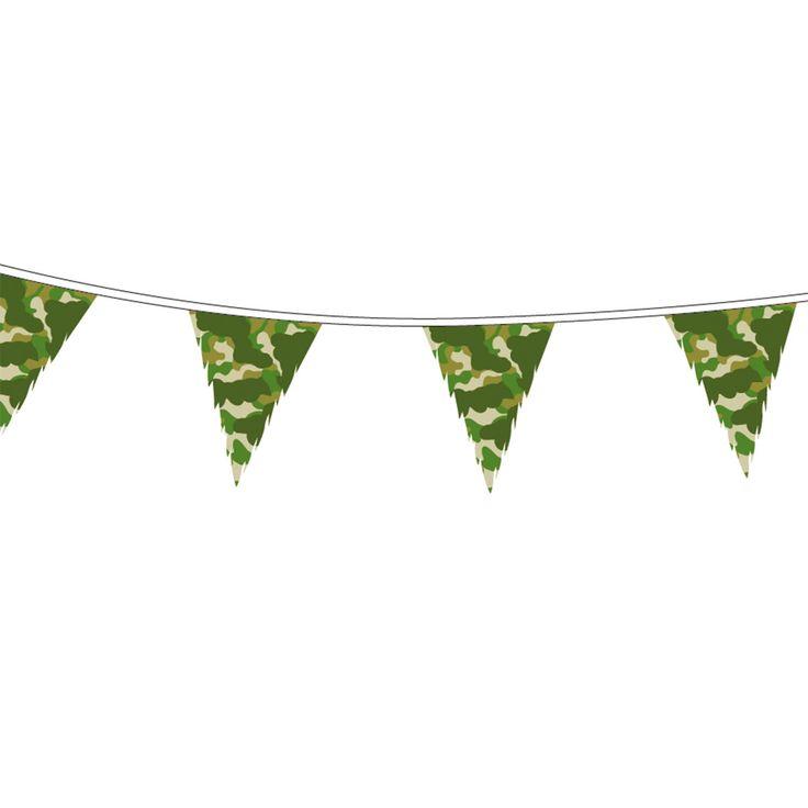 Vlaggenlijn met camouflage kleuren.Afmeting: 10mtr. - Vlaggenlijn Camouflage, 10mtr.