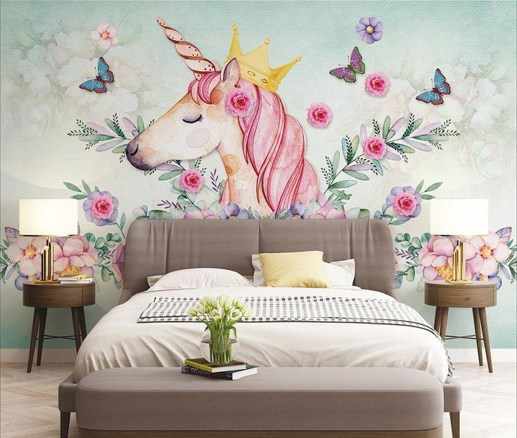 painted butterfly unicorn bedroom paint flower children nordic feature walls