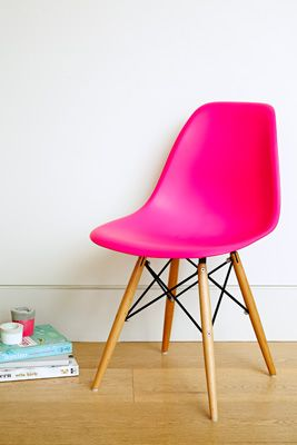 Add colour to your dining room - these replica Eames DSW chairs from Matt Blatt work a treat.