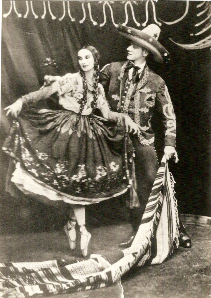 "Love this pic. Given to me by a family friend for my birthday 11th birthday. Anna Pavlova dressed in a traditional Mexican outfit called ""China Poblana"", during a visit to Mexico. She is widely credited with having popularised the ""Jarabe Taptio"" or Mexican Hat Dance. Ballet + Mexican Folkloric Dance = Love!"