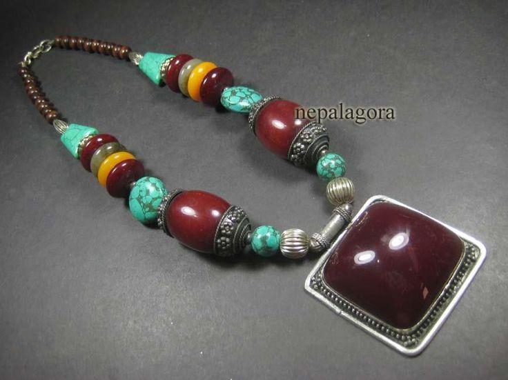 N4497 TIBETAN BOLD amber resin beads wood tribal Runway FASHION Pendant NECKLACE #Handmade #Pendant