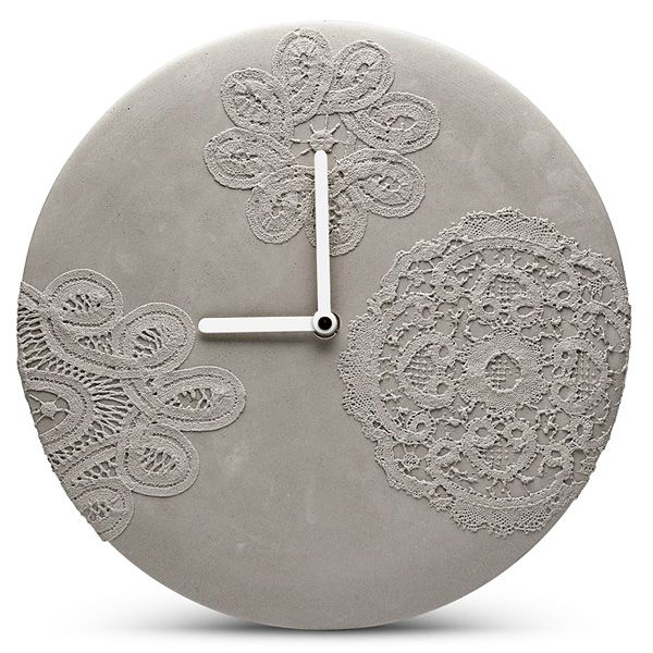MENSCH MADE   Concrete Wall Clock   Lace Pattern. Modern minimalist concrete wall clock with beautiful delicate lace patterns and white hands. (diameter 27.00 cm)