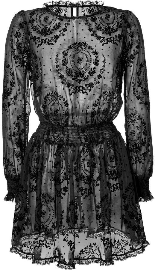RED Valentino Velvet Print Silk Dress on shopstyle.com