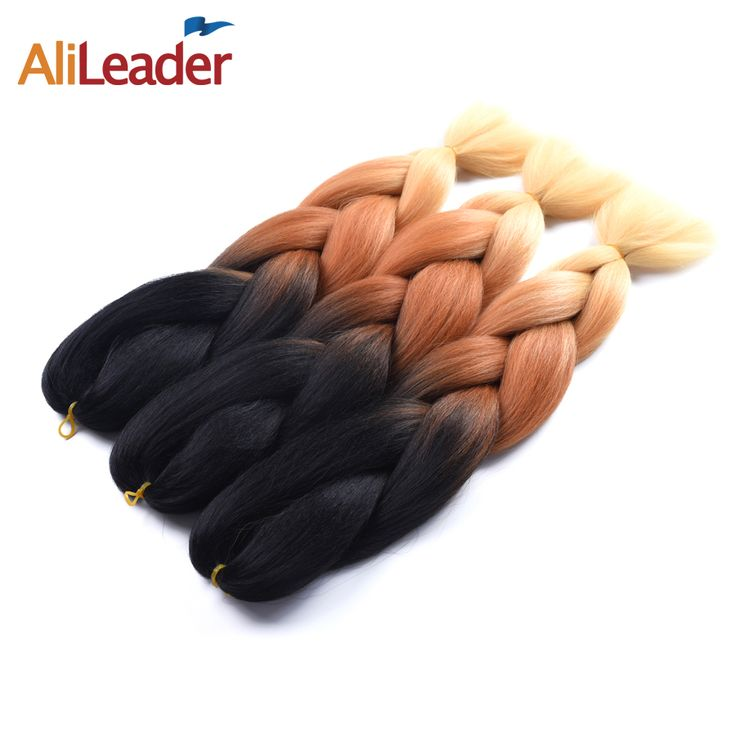 AliLeader Straight Ombre Crochet Braids Two Tone Kanekalon Xpression Hair, 32 Different Color Synthetic Braiding Hair 2Pcs/Lot
