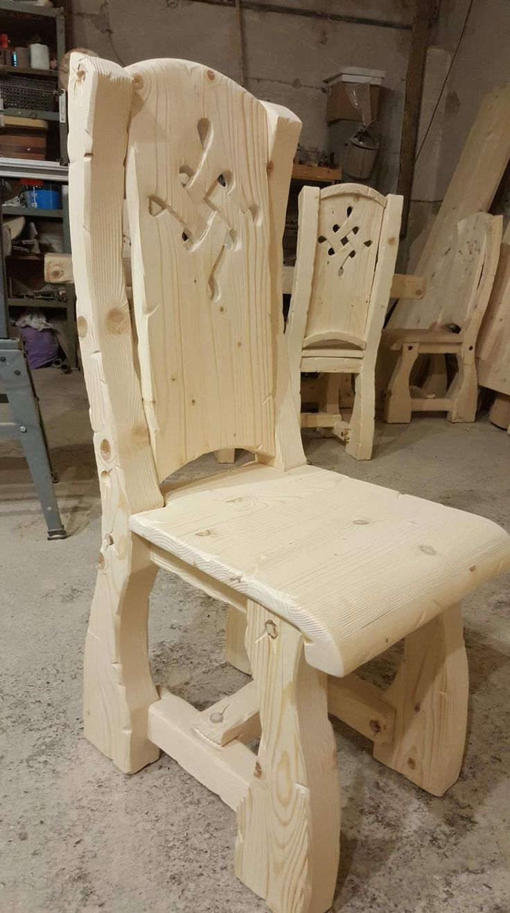 Why not try making a chair? B&Q thick wood, nailed to shape.  Carve pattern. Vintage white wash/ wood paint effect.