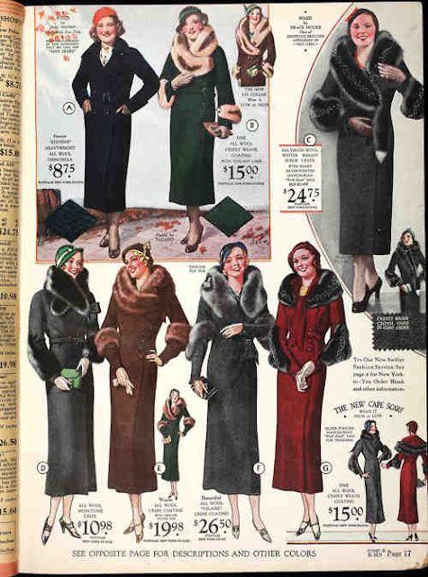 1930s coats color photo illustration catalogue print models