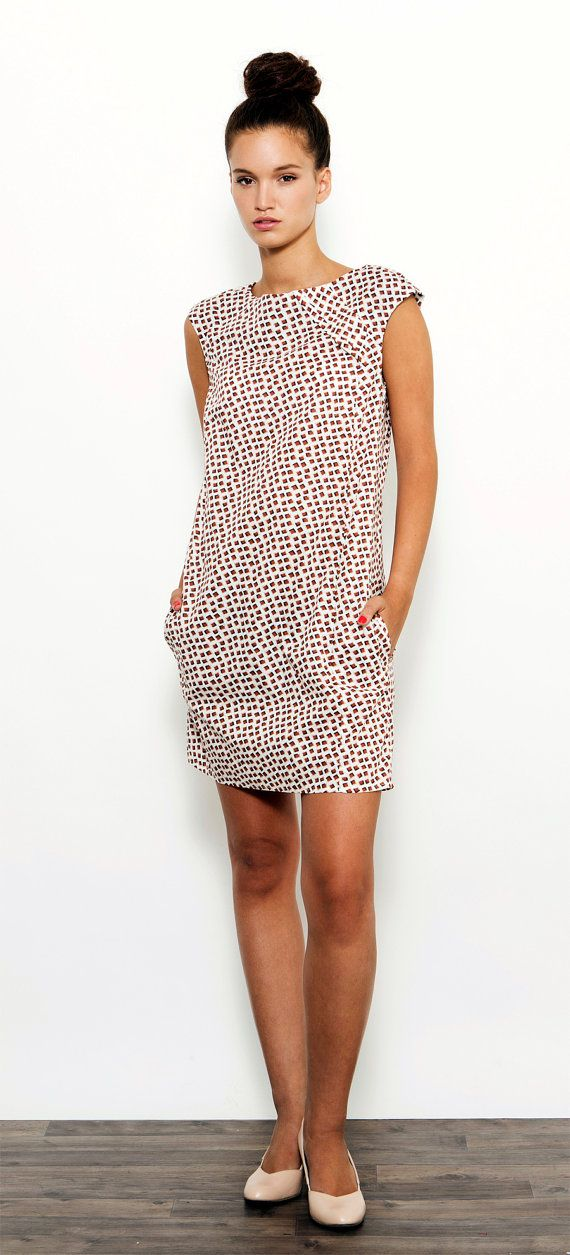 Geometric Summer Dress , Shift Dress , Feminine Dress , Party Dress , Mini Dress , Printed Dress , Day Dress 1