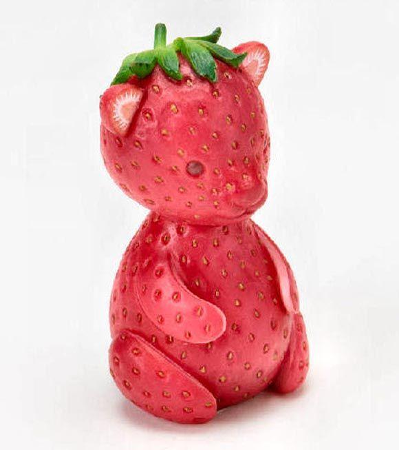 animales hechos con frutas