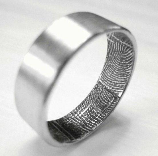 Cool Fingerprint Wedding Bands mens wedding bands Unique enough for Sergey MensWeddingRing MensWeddingBand