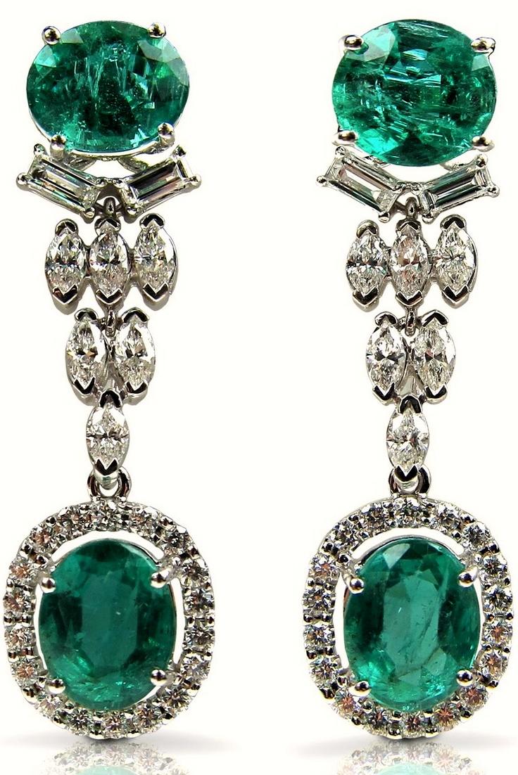 Boucheron Emerald and Diamond Ear Pendants