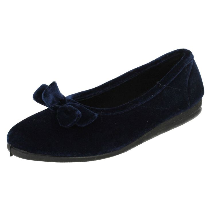 Ladies Spot On Navy Ballerina Slippers Style - X2017