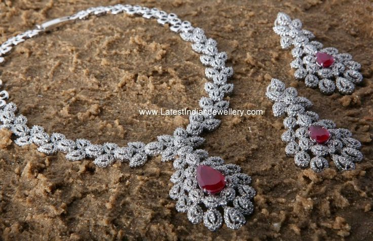 White Gold Diamond Set with Changeable Stones   Latest Indian Jewellery Designs