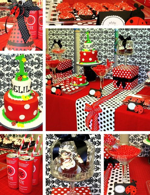This website is great for party theme ideas for kids, adults, baby showers etc!: Birthday Parties, For Kids, 1St Birthday, First Birthday, Parties Ideas, Parties Theme, Ladybugs Parties, Ladybugs Birthday, Baby Shower