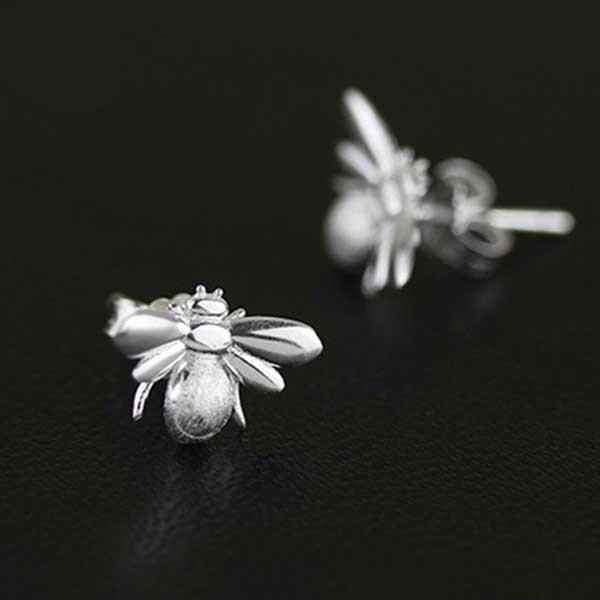 Honeybee Silver Earrings @ Fig & Wattle #jewellery #jewelry #creatures #bee #honeybee #lovebird #butterfly #owl #hoot #bird #parrot #cobra #cat #dragonfly #silver #handmade #sterlingsilver #figandwattle