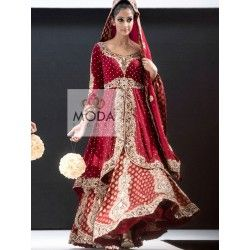 A bridal red lehenga with long kameez- Pakistani jacket lehenga