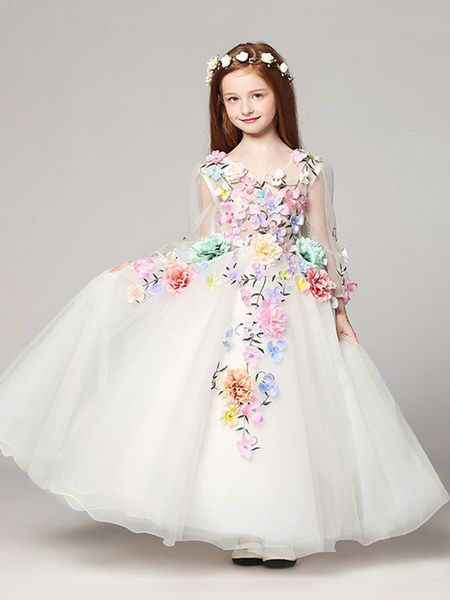 Princess Flower Girl Dresses White Floor Length Applique V Neck Tulle Long Sleeve Kids Pageant Dresses