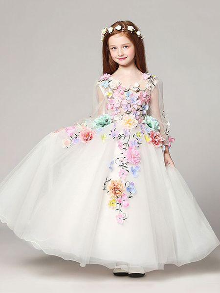 Princess Flower Dresses White Floor Length Lique V Neck Tulle Long Sleeve Kids Pageant