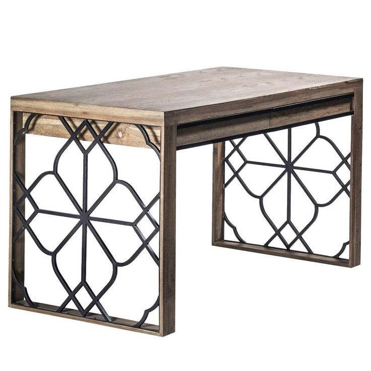 Wrought iron fretwork in a quatrefoil pattern combined with whitewashed wood make this stunning transitional desk. Put it in your home office or bedroom for a b