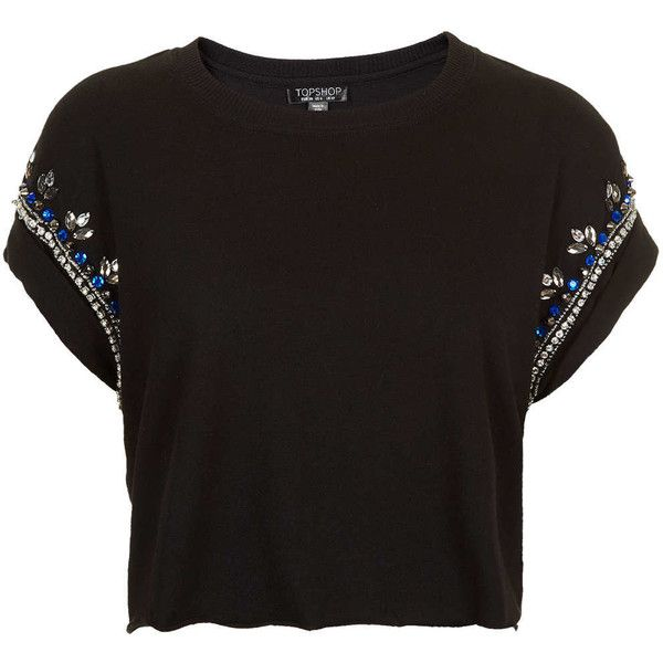 TOPSHOP Embellished Crop Tee (1,265 HNL) ❤ liked on Polyvore featuring tops, t-shirts, crop tops, shirts, black, decorating t shirts, t shirts, crop top, black cotton shirt and black crop shirt