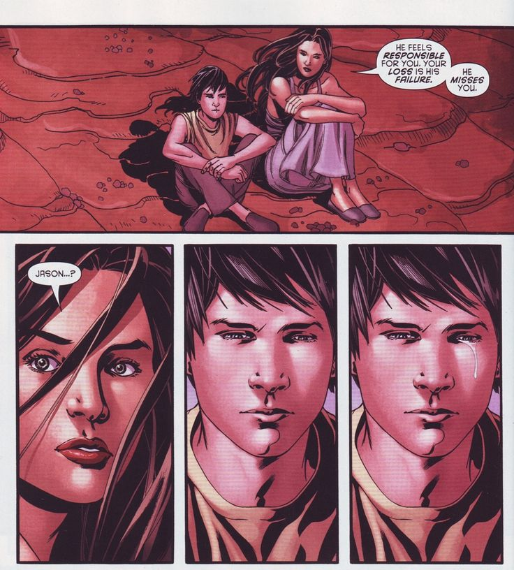 Talia al Ghul and Jason Todd..... This was one of the saddest parts in this comic when u read it....:,(
