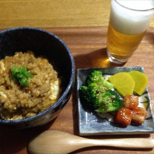 ❤︎キムチ雑炊 ❤︎ビール ❤︎カクテキ ブロッコリー たくあん - 5件のもぐもぐ - キムチ雑炊 by kirari