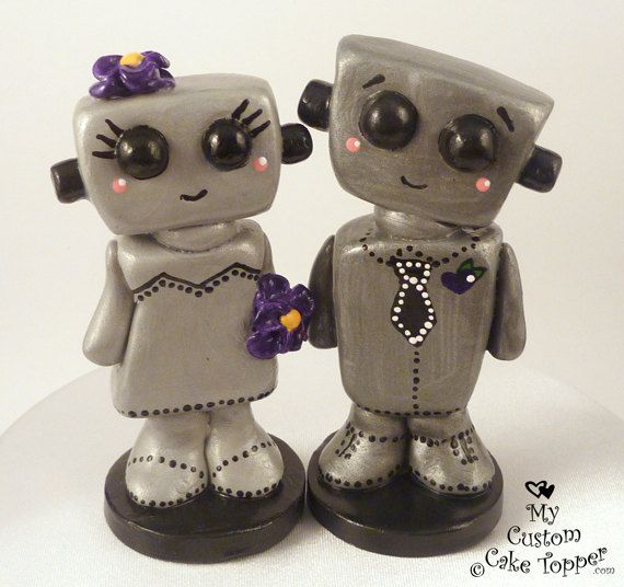 Love Bots Bride and Groom Customizable Wedding Cake Topper Kawaii. $75.00, via Etsy.
