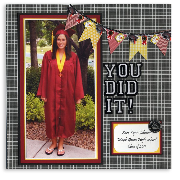 Graduation scrapbook page for one large picture. I like the banner. 12x12 Layout