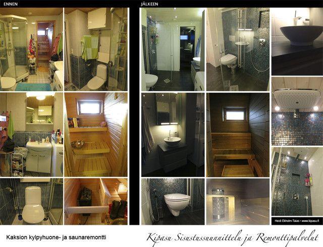 Toteutimme Espoossa sisustussuunnittelun ja remontin kaksion kylpyhuoneeseen ja saunaan. Kylpyhuone ja sauna, kaksio   Kipasu Sisustussuunnittelu ja Remonttipalvelut