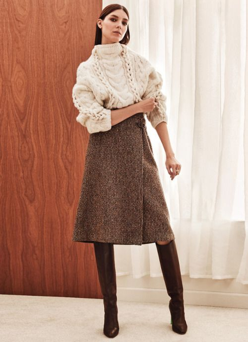 Sweater skirt wool cable knit beige cream midi brown