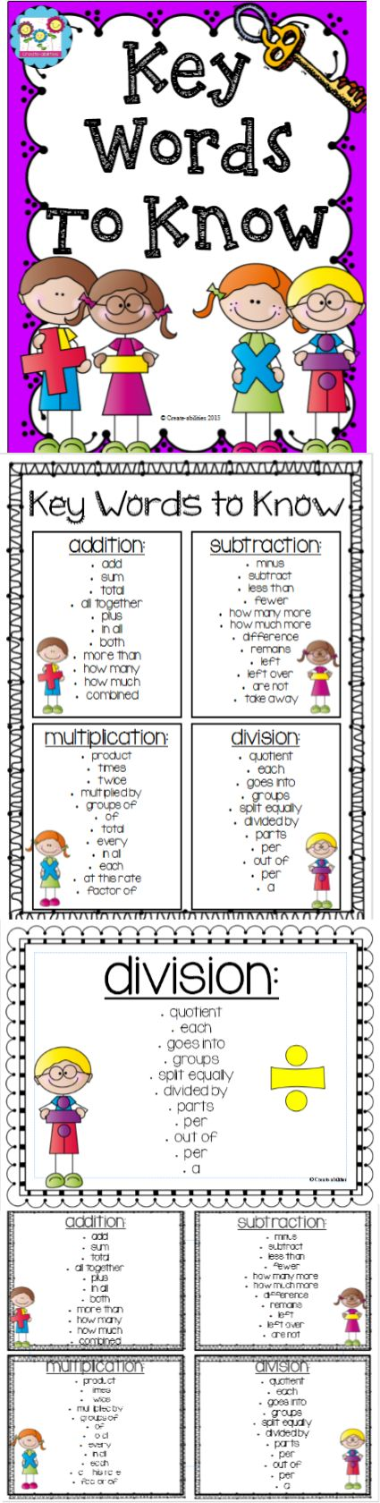 Key Words to Know for word problems. Great lists for students to refer back to! Addition, subtraction, multiplication, division. $ #wordproblems #math #keywordstoknow