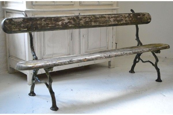 19th Century French Garden Bench | Vinterior London  #cottage #interiors #furniture #vintage #design #rustic #home