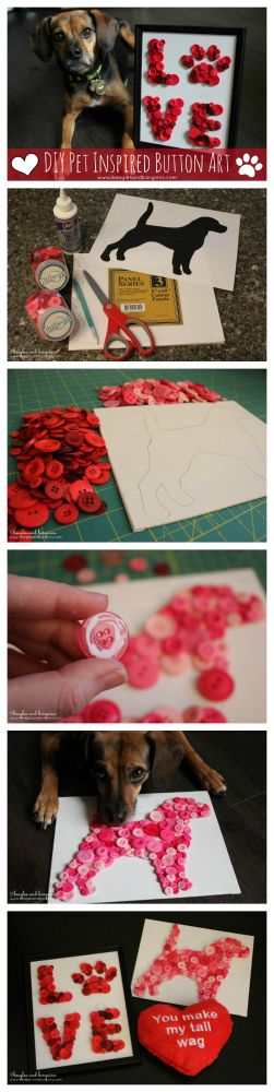 DIY Pet Inspired Button Art + Printable Template - Perfect Gift for Dog Moms - Valentine's Day