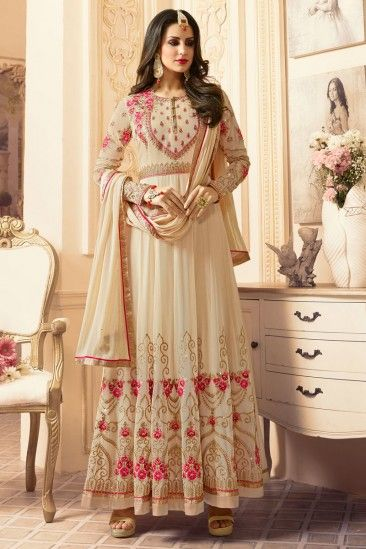 Stylish Cream Georgette Anarkali Churidar Suit With Dupatta - DMV15389  #churidarsuits #anarkalisuits #creamsuits #eid2018 #eid #newarrivals